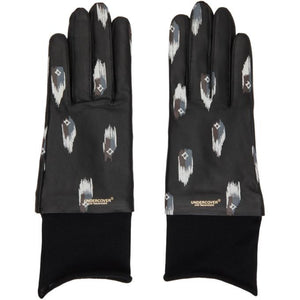 Undercover Black Leather Printed Gloves