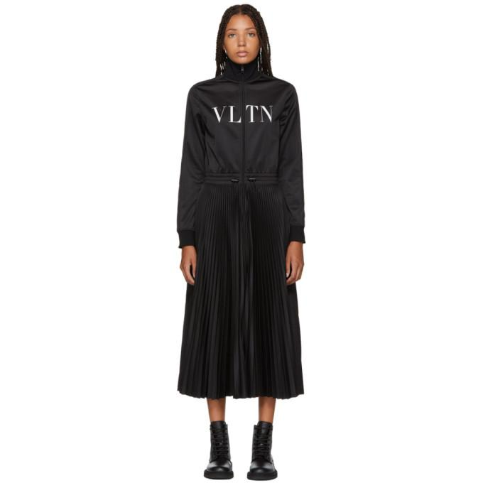 Valentino Black Logo Jersey Dress-BLACKSKINNY.COM