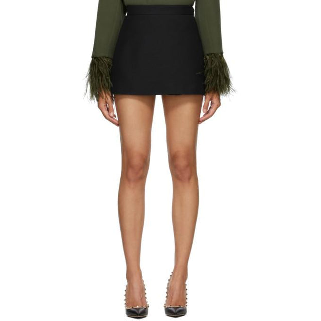 Valentino Black Wool and Silk Skort