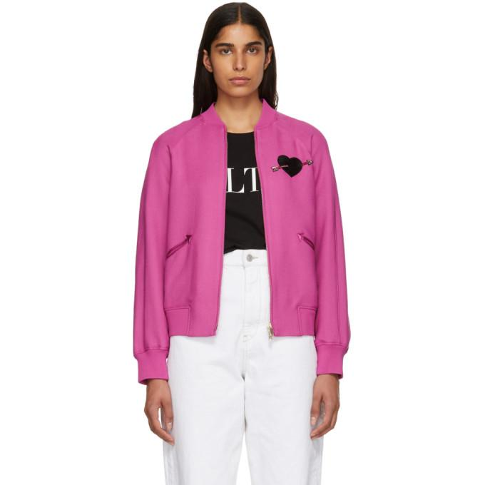 Valentino Pink Heart Beaded Embroidered Bomber Jacket-BlackSkinny