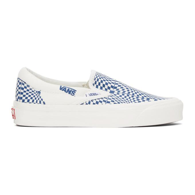 Vans Blue and White CHECK OG Classic Slip-On LX Sneakers