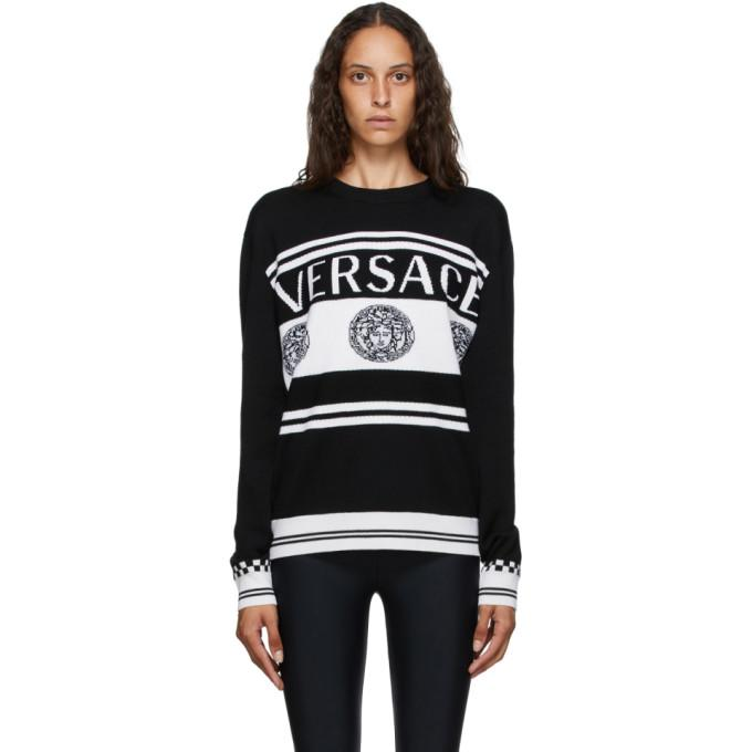 Versace Black and White Vintage Medusa Sweater