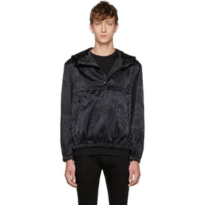 Versace Black 'Liberty' Jacquard Windbreaker Jacket-BlackSkinny