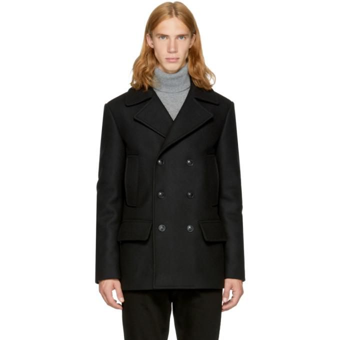 Versace Black Wool Double-Breasted Peacoat-BlackSkinny