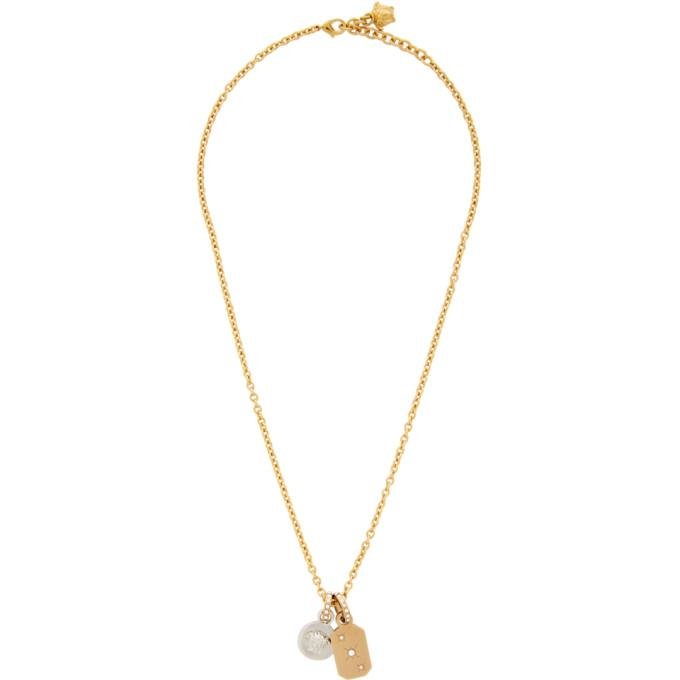 Versace Gold and Silver Charm Crystal Pendant Necklace