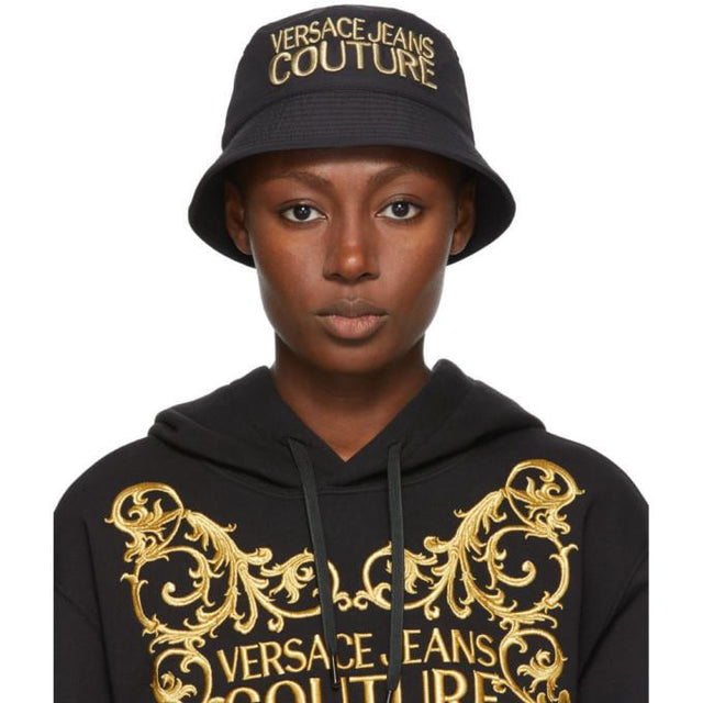 Versace Jeans Couture Black and Gold Embroidered Logo Bucket Hat