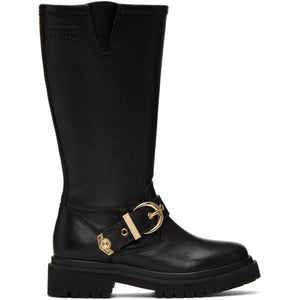 Versace Jeans Couture Black Rodeo Buckle Tall Boots