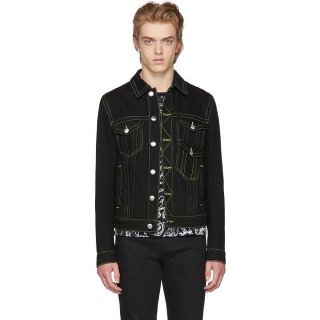 Versus Black Fluo Seams Denim Jacket-BlackSkinny