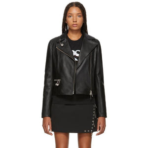 Versus Black Safety Pin Leather Jacket-BlackSkinny