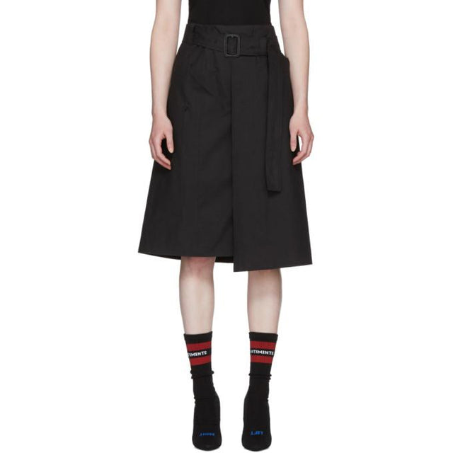 Vetements Black Trench Wrap Skirt-BLACKSKINNY.COM