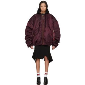 Vetements Reversible Burgundy Alpha Industries Edition Oversized Hooded Bomber Jacket-BlackSkinny
