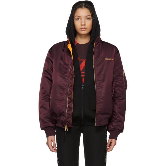 Vetements Reversible Red Alpha Industries Edition Logo Bomber Jacket-BlackSkinny