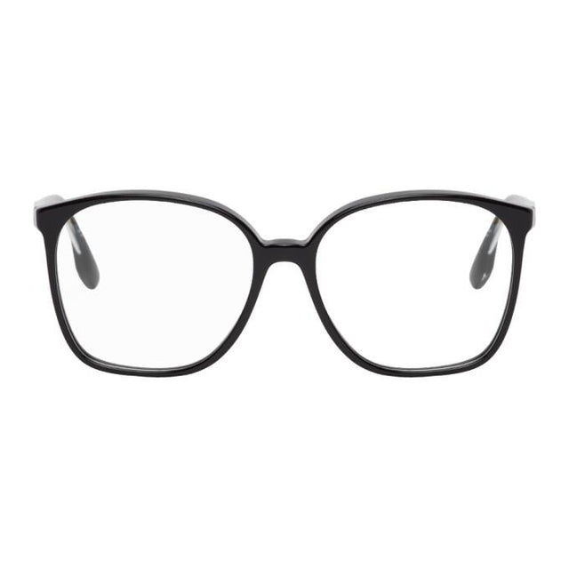Victoria Beckham Black Guilloche Vintage Oversized Square Glasses