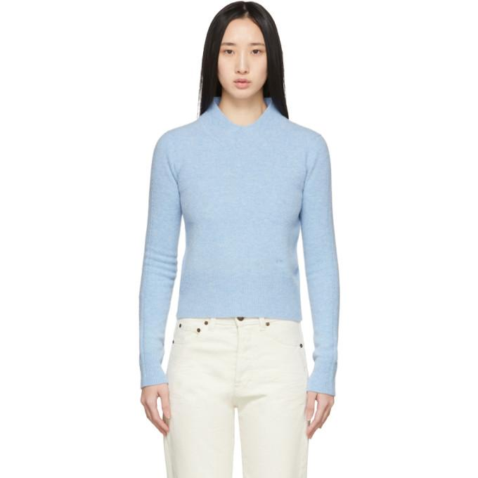 Victoria Beckham Blue Wool Mock Cropped Sweater