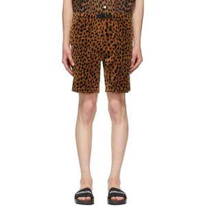 WACKO MARIA Brown and Black Velour Leopard Shorts