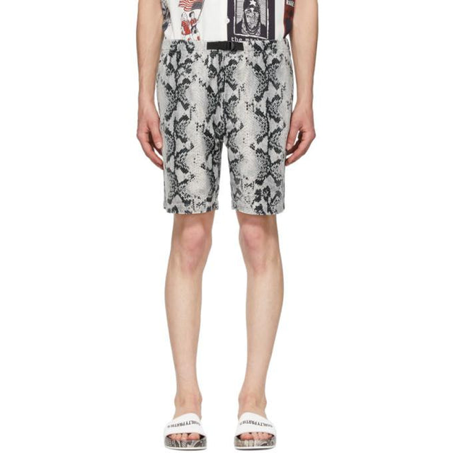 WACKO MARIA Grey and Black Velour Python Shorts