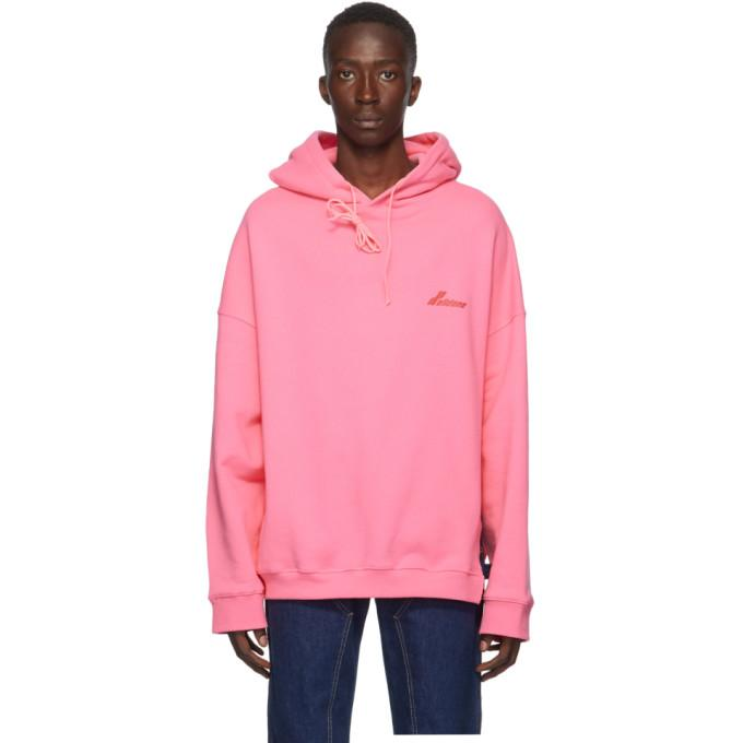 We11done Pink Cut-Out Logo Hoodie