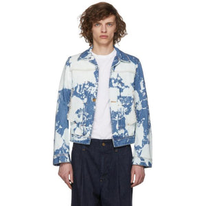 Wheir Bobson Blue Denim Chem Bleach Layered Jacket-BlackSkinny