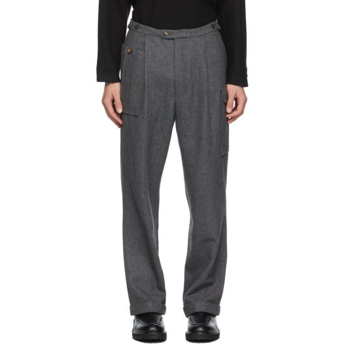Winnie New York Grey Wool Notch Pleated Trousers