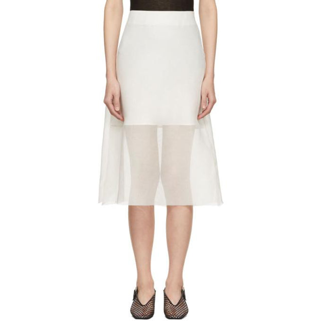 Yang Li Off-White Midi Skirt-BLACKSKINNY.COM
