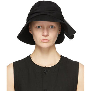 Ys Black Wool Frilled Fedora