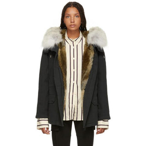 Yves Salomon - Army Black Classic Short Fur-Lined Parka-Jackets & Coats-BLACKSKINNY.COM