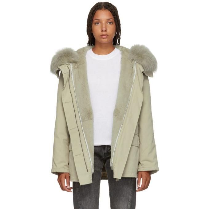 Yves Salomon - Army Grey Classic Short Fur-Lined Parka-Jackets & Coats-BLACKSKINNY.COM