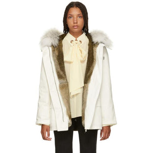 Yves Salomon - Army White Classic Short Fur-Lined Parka-Jackets & Coats-BLACKSKINNY.COM