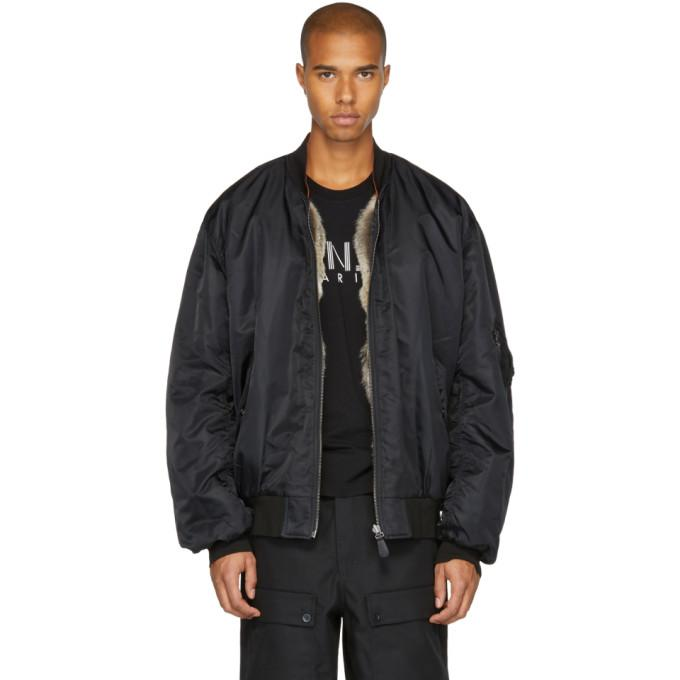 Yves Salomon Black Fur-Lined Bomber Jacket-BlackSkinny