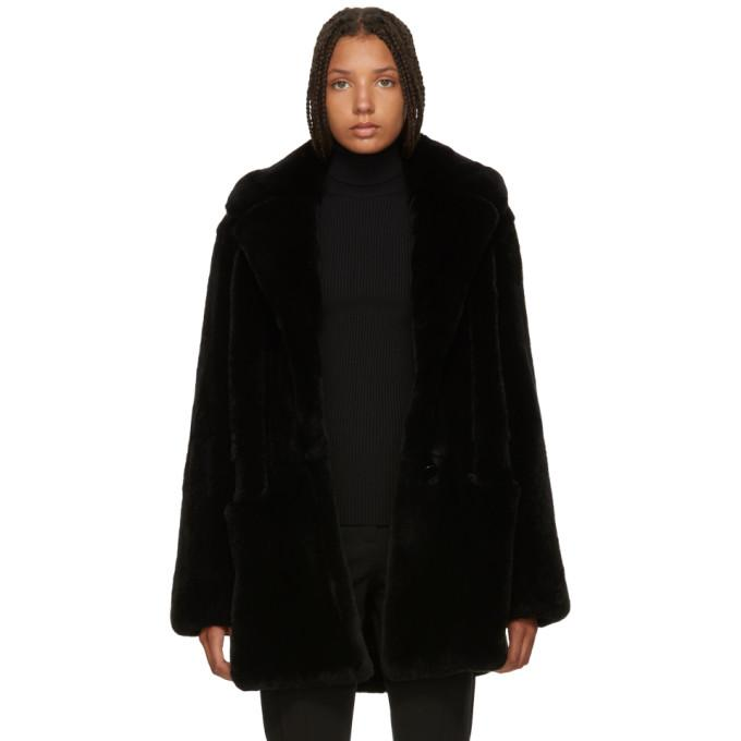 Yves Salomon Black Fur Notched Lapel Coat-BlackSkinny