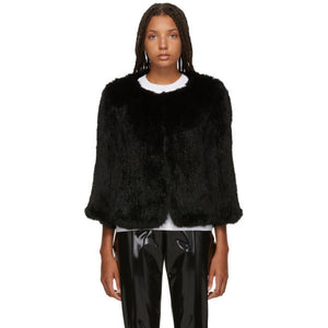 Yves Salomon Black Knitted Rabbit Jacket-BlackSkinny