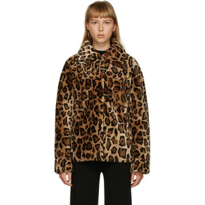 Yves Salomon - Meteo Brown Leopard Shearling Jacket