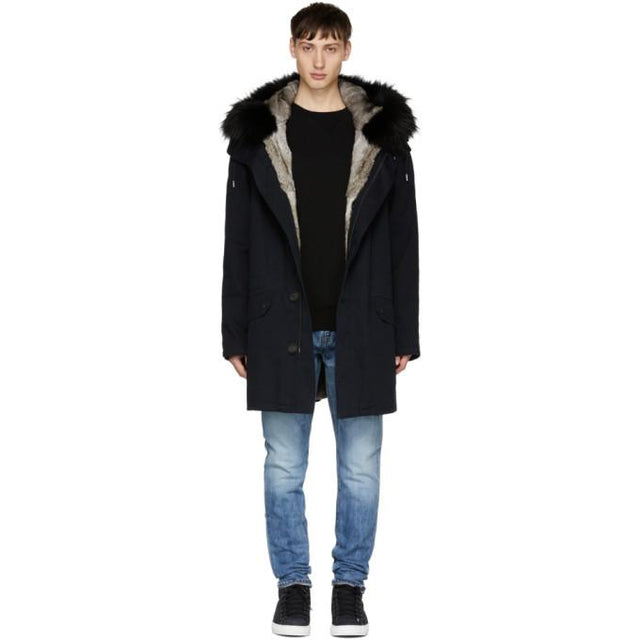 Yves Salomon Navy Fur-Lined Parka-BlackSkinny