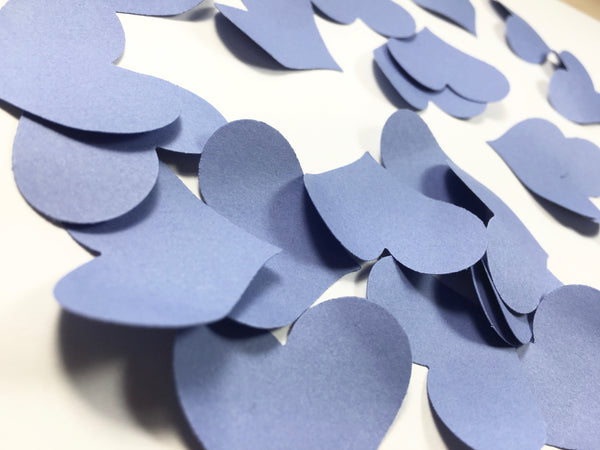 Blue Heart Petal Table Scatters - Periwinkle Blue Heart Petal Table Scatters