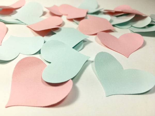 Gender Reveal Heart Petal Table Scatters - Pink and Blue Heart Petal Table Scatters