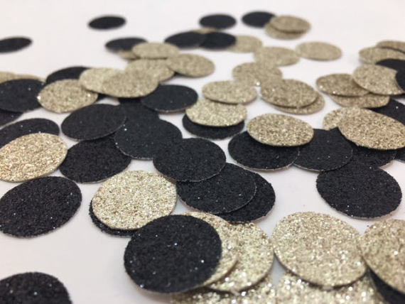 Black and Champagne Gold Circle Glitter Table Confetti
