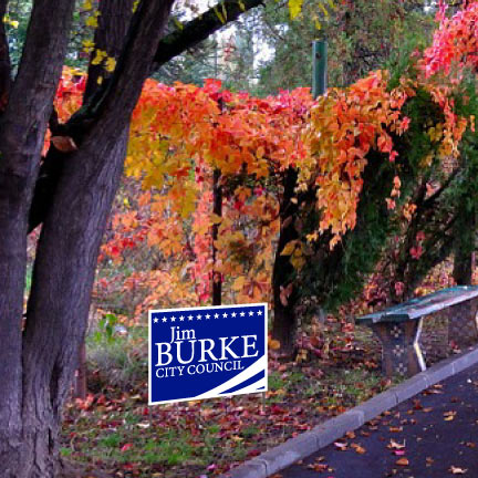 A personalized campaign yard sign on the side of a road