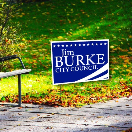 A personalized campaign yard sign