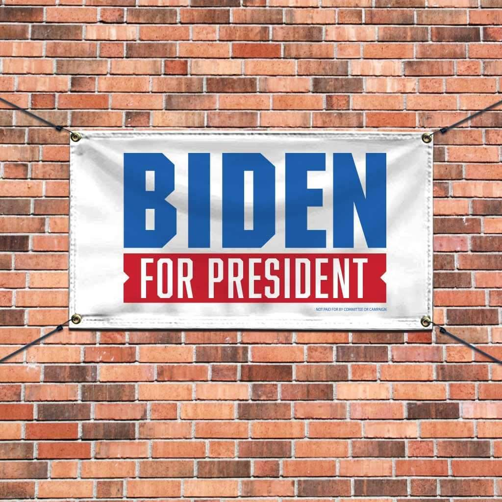Joe Biden for President 2020 white banner