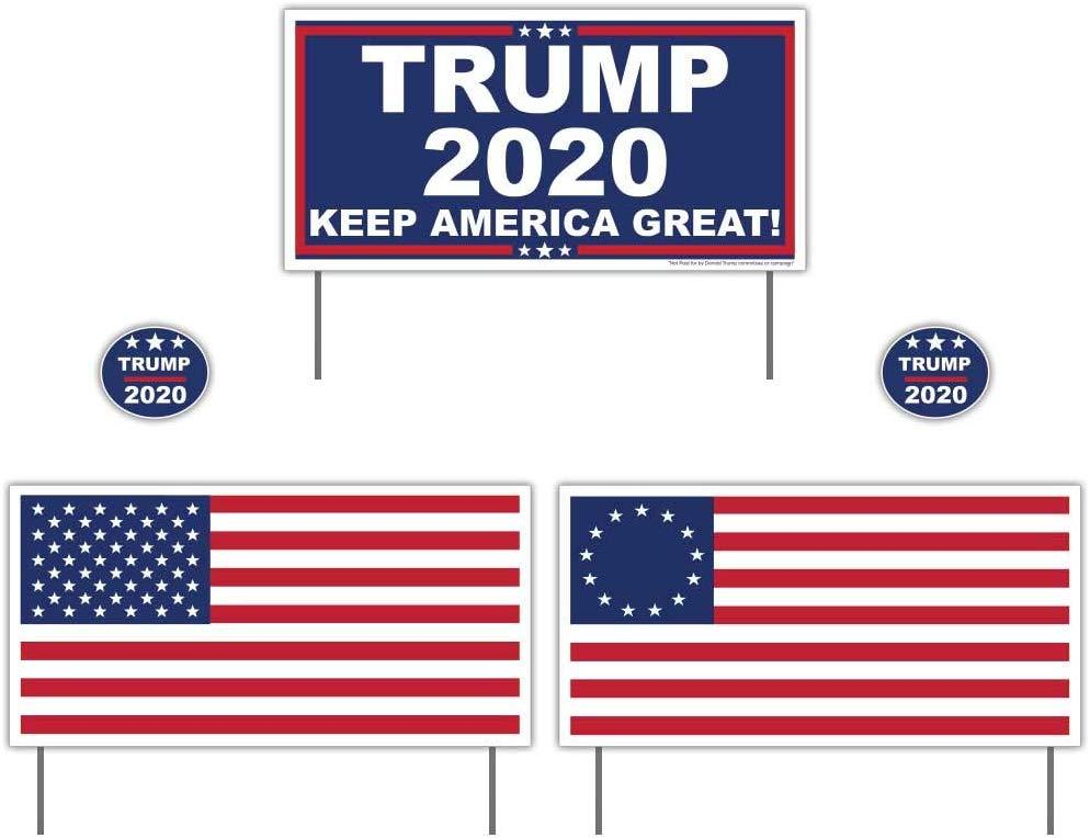 "Donald Trump 2020 12""x24"" Yard Sign Set (1 ea: Trump 2020/American Flag/BetsyRossFlag) with 2 Trump 2020 Stickers & 6 sign stakes"