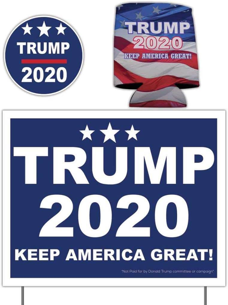 Donald Trump 2020 Gift Pack - Yard Sign w/stakes, Decal & Can Cooler (1 of item)