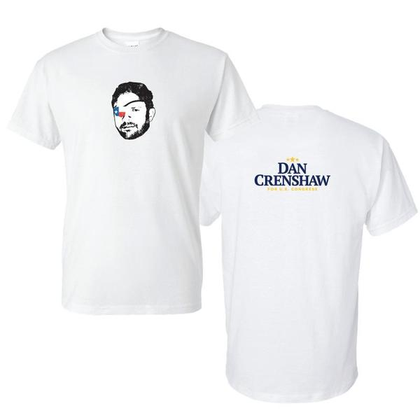 White Dan Crenshaw Face Graphic T-Shirt