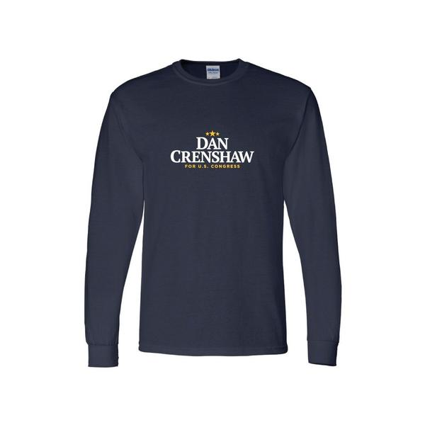 Navy Blue Dan Crenshaw Logo Long Sleeve Shirt