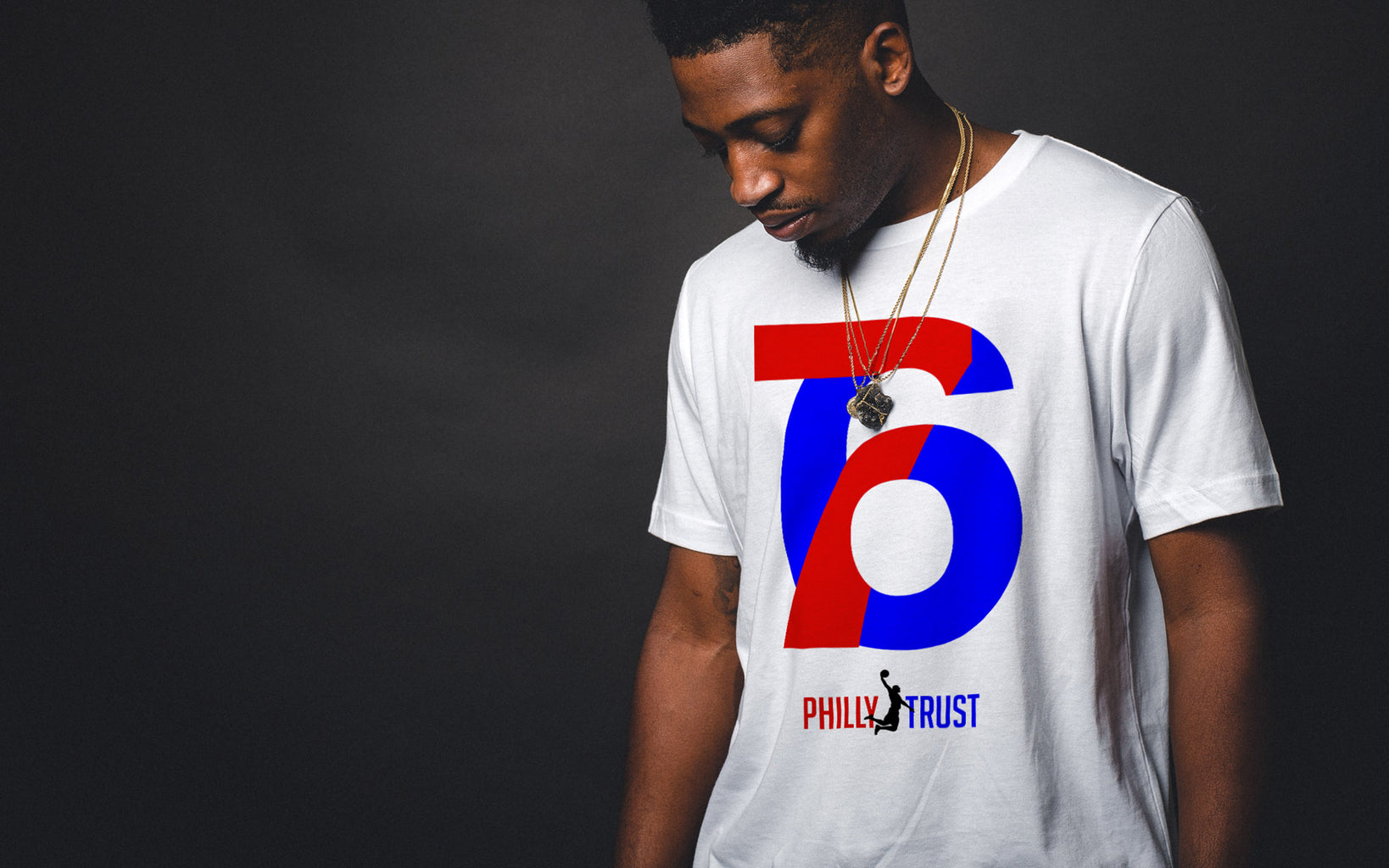 Sixers fans will love this exclusive design. The 7 intertwines with the 6 to make a beautifully balanced and simplistic symbol. Trust the process! Philly Trust!