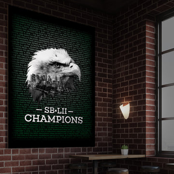 SB-LII Champions • Eagle & Philly Skyline Merged • Poster (Framed)