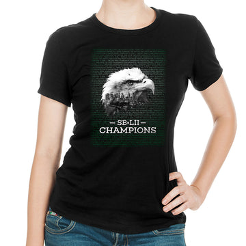 SB-LII Champions • Eagle & Philly Skyline Merged • Women's Slim Fit T-Shirt