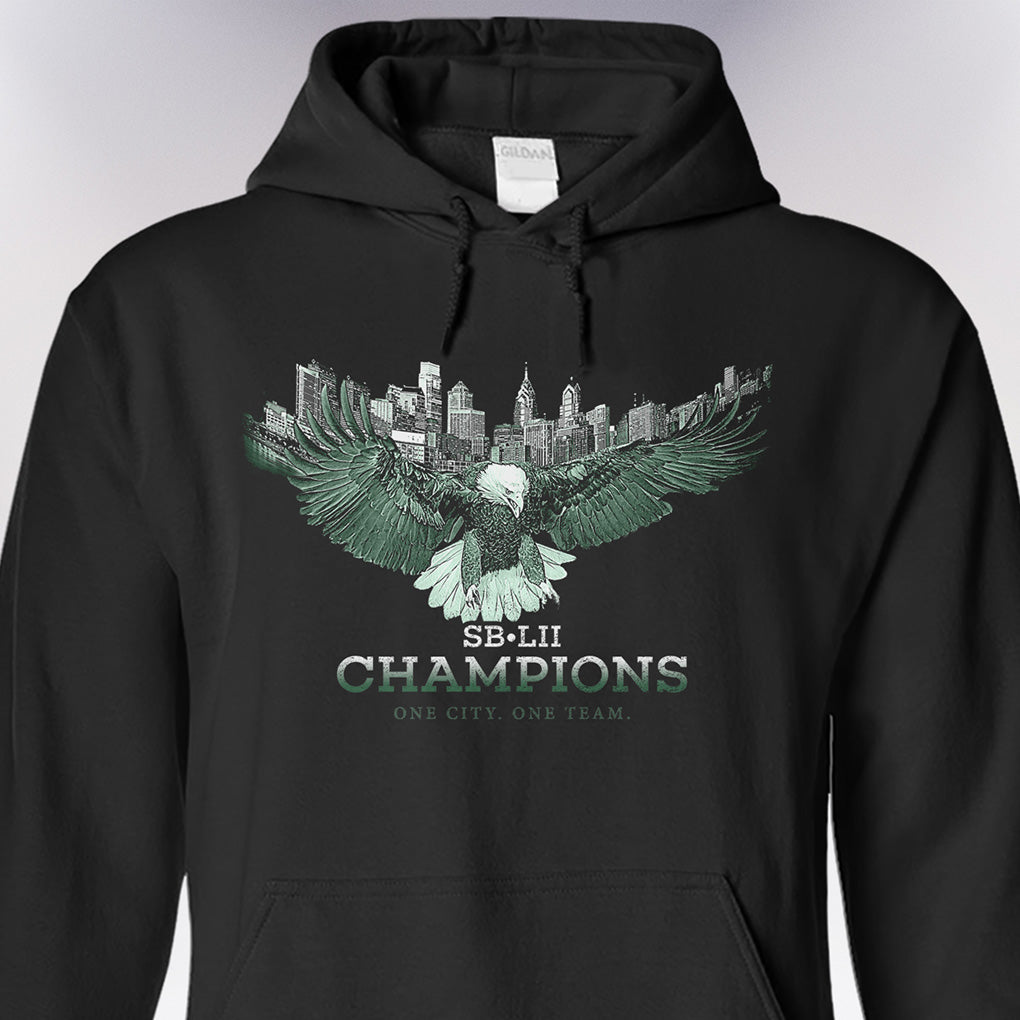 Hoodie • One City. One Team. • Eagles SB-LII 2018 Champions