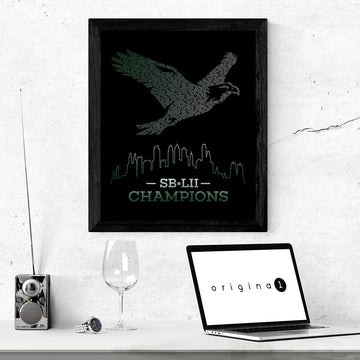 SB-LII Champions • Eagle Made of Words • Poster (Framed)