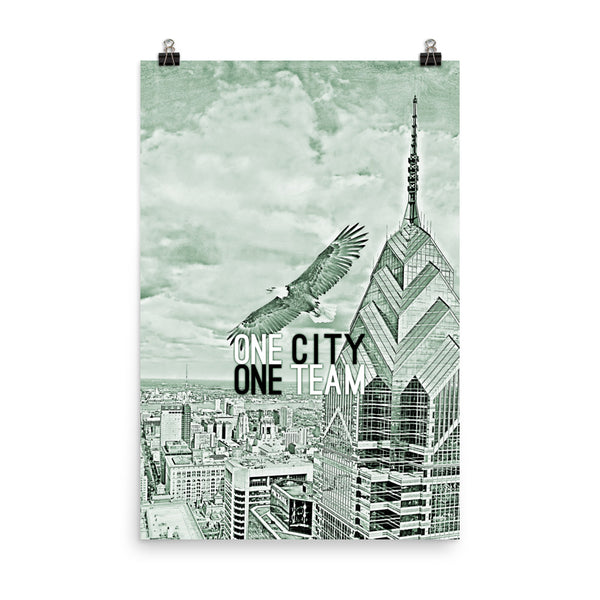 Eagle Soaring Over Philly • Unframed Poster