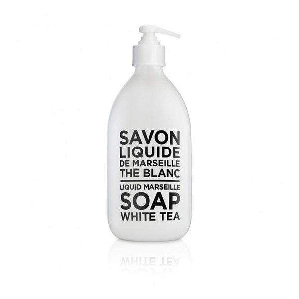 Compagnie de Provence White Tea Liquid Marseille Soap 16.9 oz Glass Bottle-Compagnie de Provence Savon de Marseille-Oak Manor Fragrances